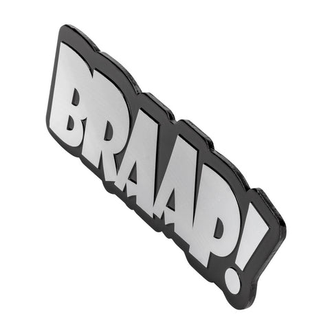 "BULLY IP-3095 ""Braap!"" Silver Car Emblem"
