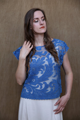 Lace Cloud Top in Dark Indigo