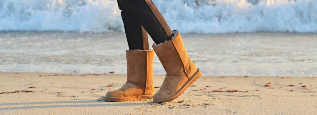 Bearpaw shearling boots on beach