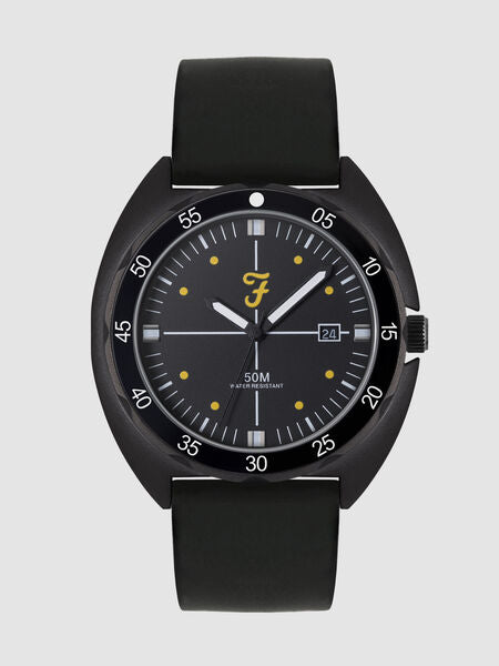 FARAH BLACK SILICONE STRAP WATCH