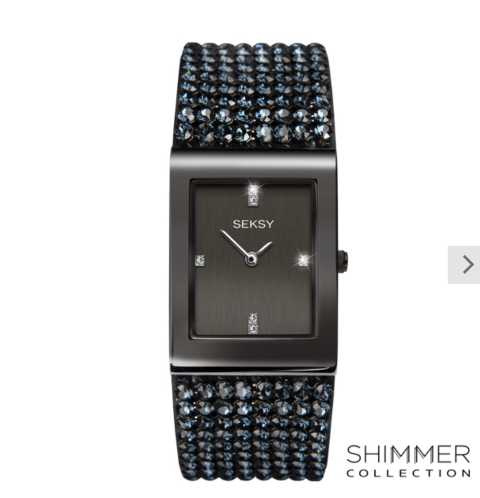 Seksy Shimmer Gun Metal Plated Bracelet Watch