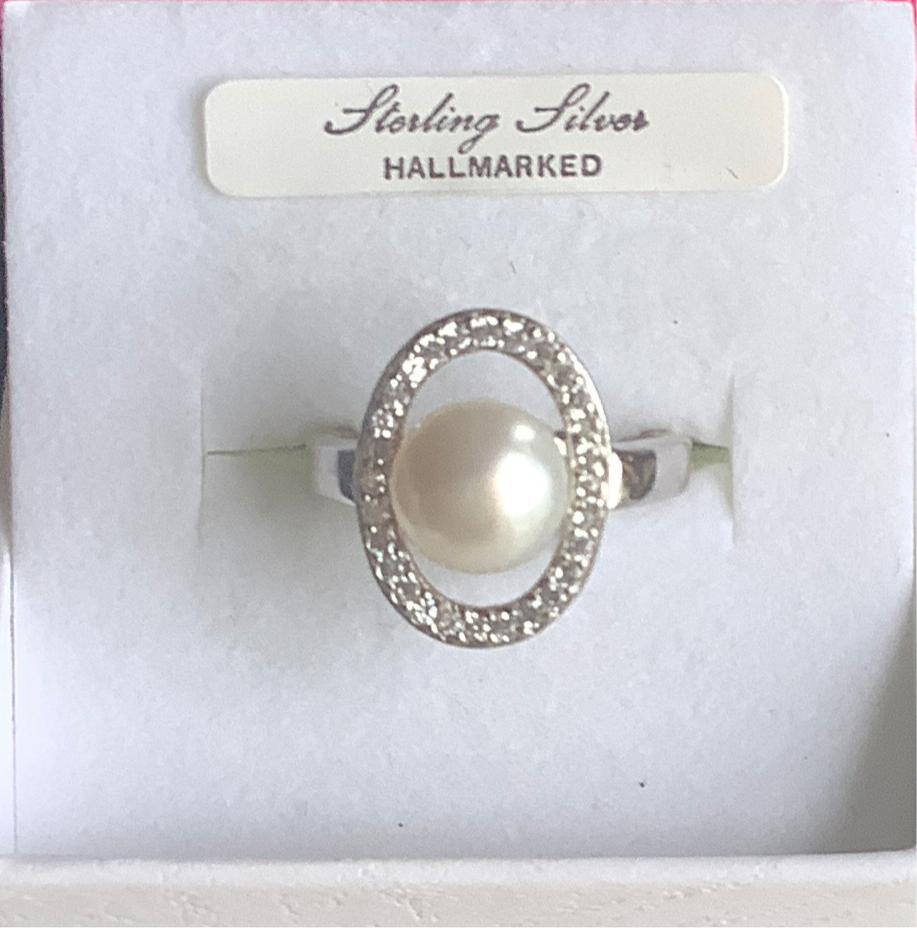 Silver Pearl & CZ Ring