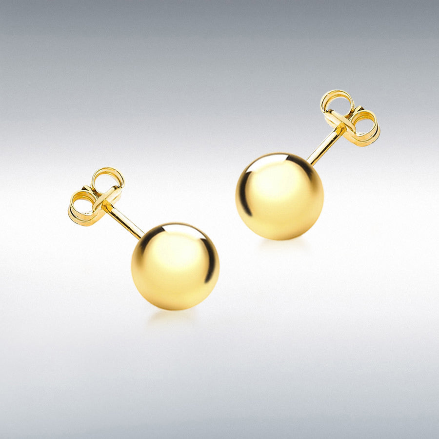 9CT YELLOW GOLD 8MM BALL STUD EARRINGS