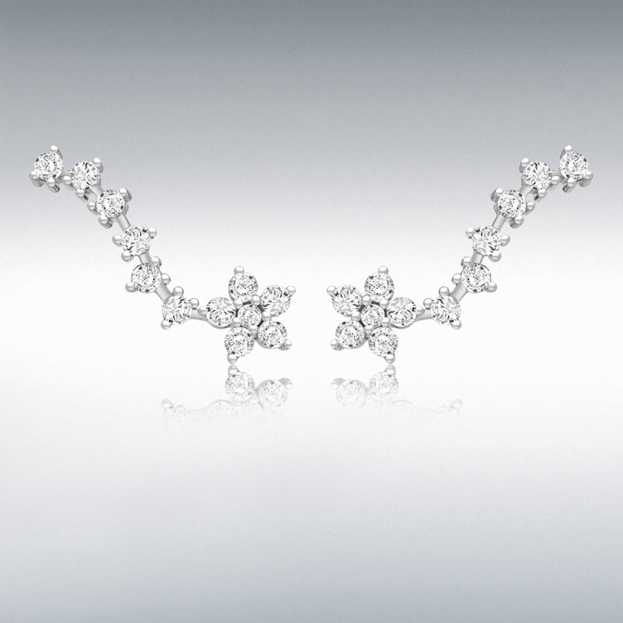 STERLING SILVER RHODIUM PLATED CZ 26.8MM X 8.9MM FLOWER COMET CRAWLER EARRINGS
