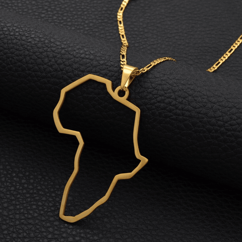 Outline of Africa Necklace - 18K Gold Plated