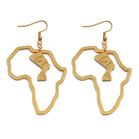 Queen Nefertiti in Africa Earrings - 18K Gold Plated