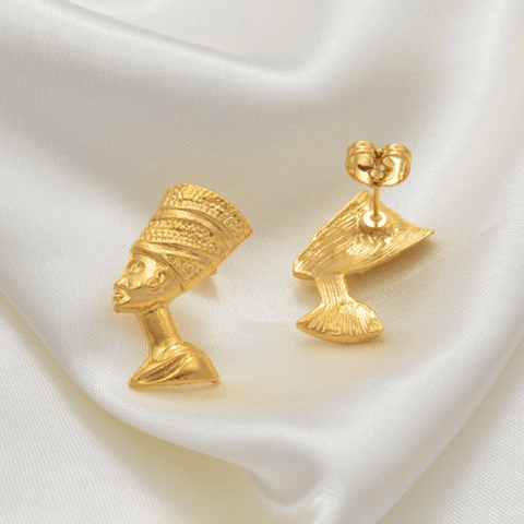 Queen Nefertiti Earrings - 18K Gold Plated