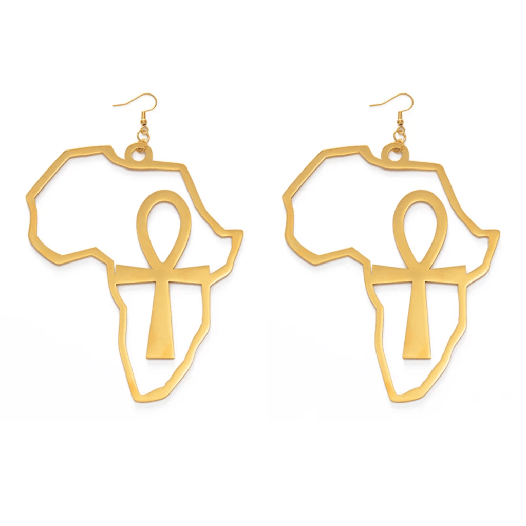XL Nile Key (Ankh) in Africa Earrings - 18K Gold Plated