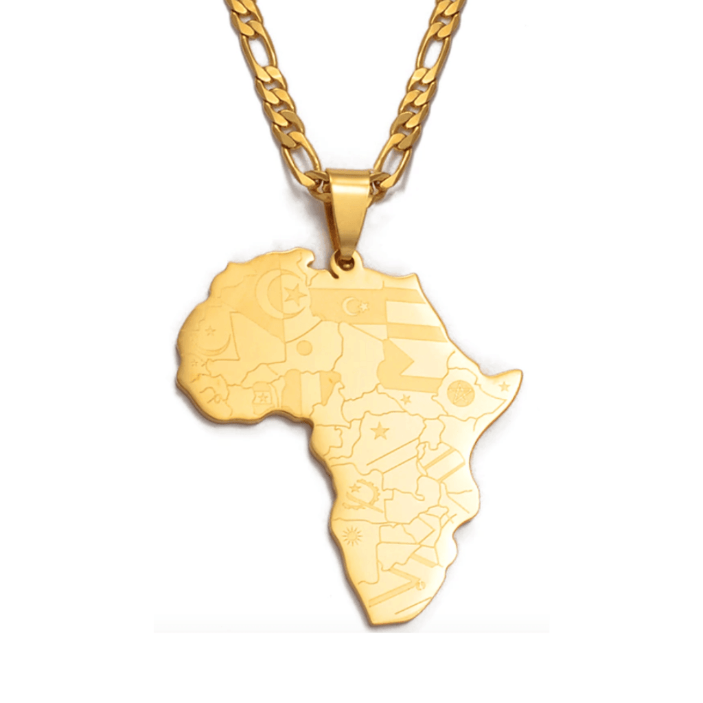 Africa Flag Mapped Necklace - 18K Gold Plated