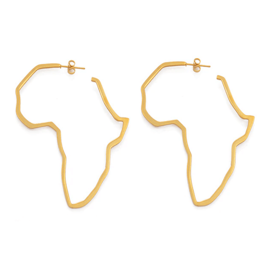XL Outline of Africa Earrings - 18K Gold Plated