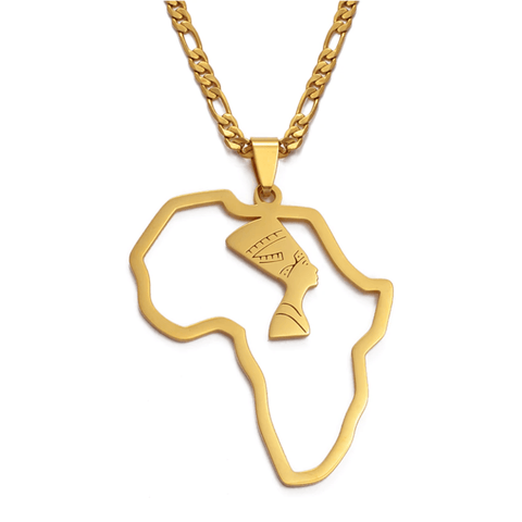 Queen Nefertiti in Africa Necklace - 18K Gold Plated