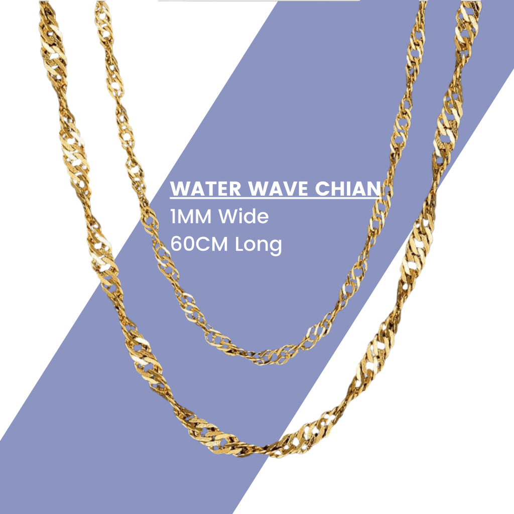 Premium Water Wave Chain - 18K Gold Plated