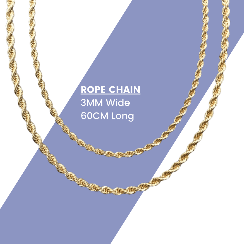 Premium Twisted Rope Chain - 18K Gold Plated