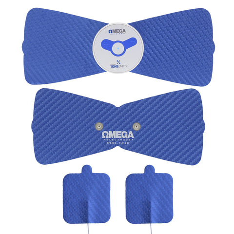 four blue wireless electric pain therapy massage units