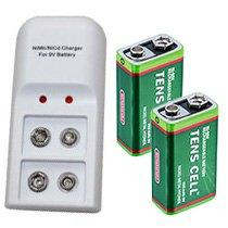 Dual Battery Charger with 2 9V Batteries (Charger & 2 Batteries) - Tens Units