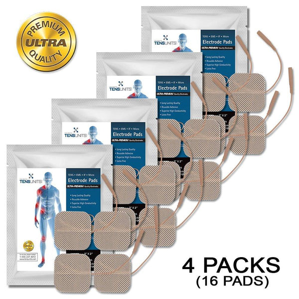 "Pack of 4 (16 Pads) 1.5"" x 1.5"" Premium Square Tan Cloth Electrodes In Foil Bag"