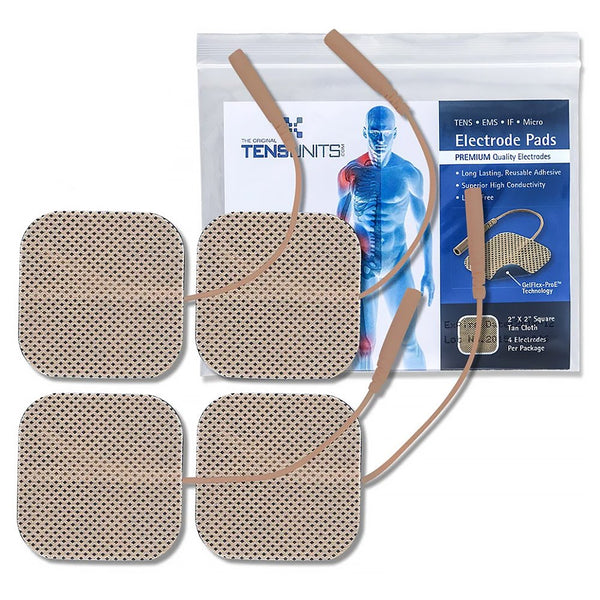 "20 Pack - Premium Package of 4: 2"" x 2"" Tan Cloth Electrodes - Tens Units"