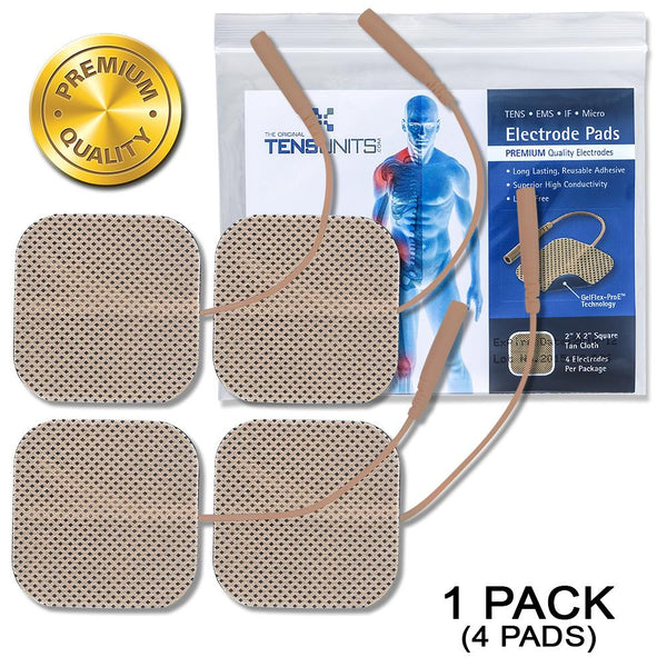 "Premium 2"" x 2"" Square Tan Cloth Electrodes In Poly Bag - 1 Pack (4 Pads)"