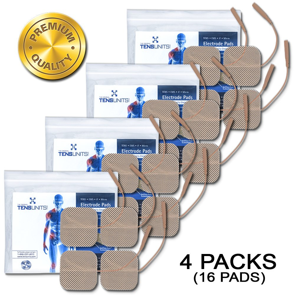 """Pack of 4 (16 Pads) 2"""" x 2"""" Premium Square Tan Cloth Electrodes In Poly Bag"""