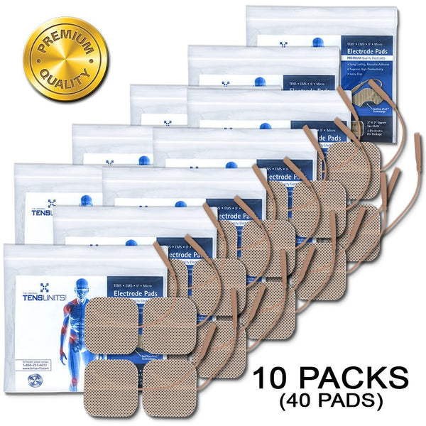"10 Pack - Premium Package of 4: 2"" x 2"" Tan Cloth Electrodes - Tens Units"