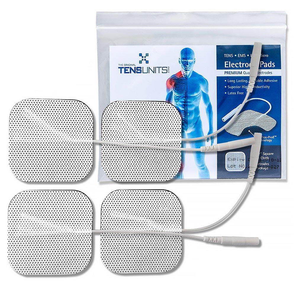 """Premium 2"""" x 2"""" Square White Cloth Electrodes In Poly Bag - 4 Pack(16 Pads)"""