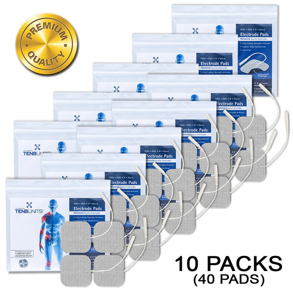 "Pack of 10 (40 Pads) 2"" x 2"" Premium Square White Cloth Electrodes In Poly Bag"