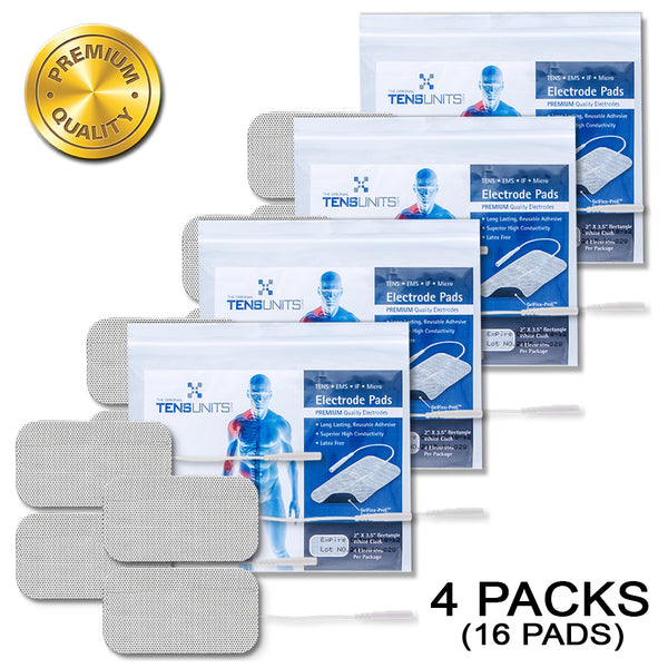 "Pack of 4 (16 Pads) 2"" x 3.5"" Premium Rectangle White Cloth Electrodes In Poly Bag"