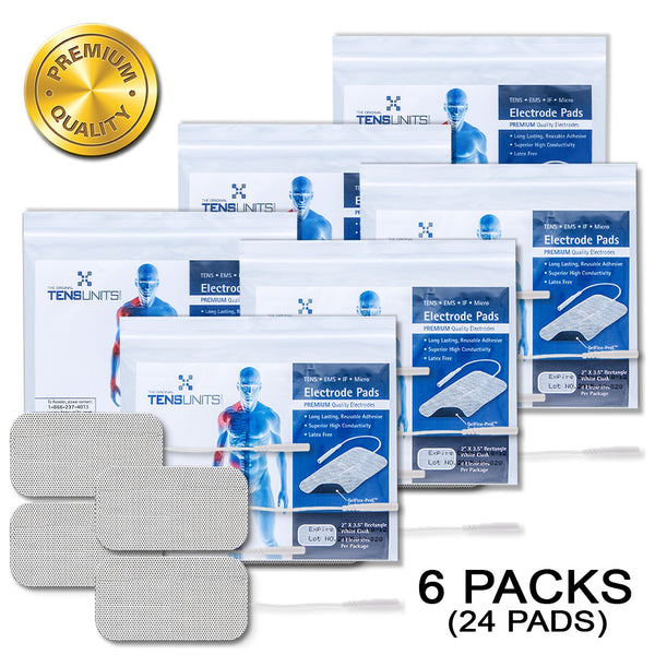 "Pack of 6 (24 Pads) 2"" x 3.5"" Premium Rectangle White Cloth Electrodes In Poly Bag"