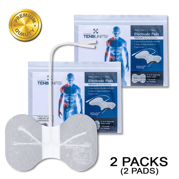 "Pack of 2 (2 Pads) 4"" x 6"" Premium White Cloth Butterfly Electrode in Poly Bag"