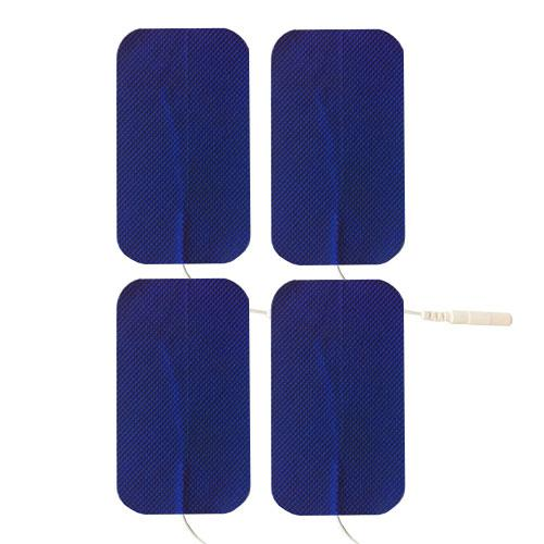 "Economy 2"" x 3.5"" Blue Cloth Rectangle EMS & TENS Electrode Pad - 1 Pack (4 Pads) - Tens Units"