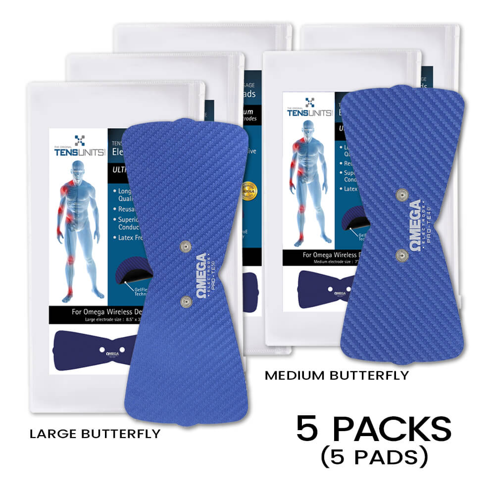 Replacement Snap Butterfly Electrode Pads 3 Large & 2 Small - Without Lead Wires