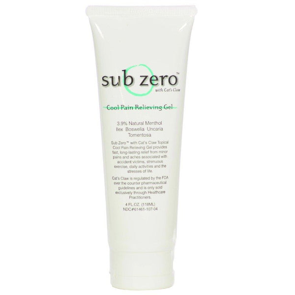 Sub Zero Topical Analgesic Cool Pain Relieving Gel - 4oz Tube