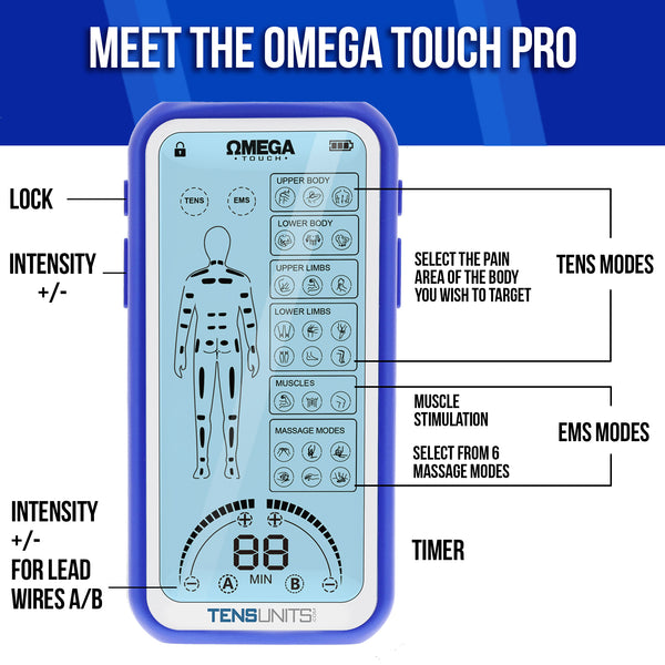 Omega Touch Pro Tens & EMS Combo Unit for Effective Pain Relief