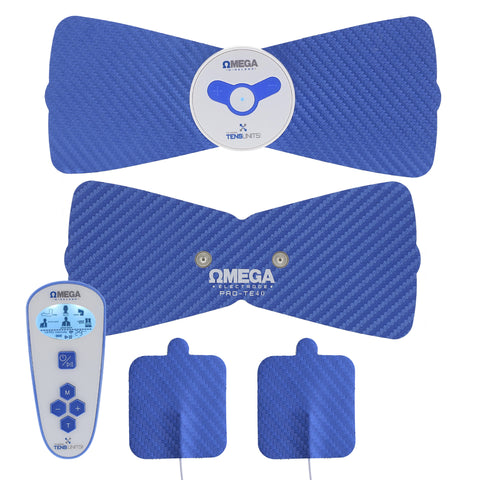 four blue wireless electric pain therapy massage units with controller
