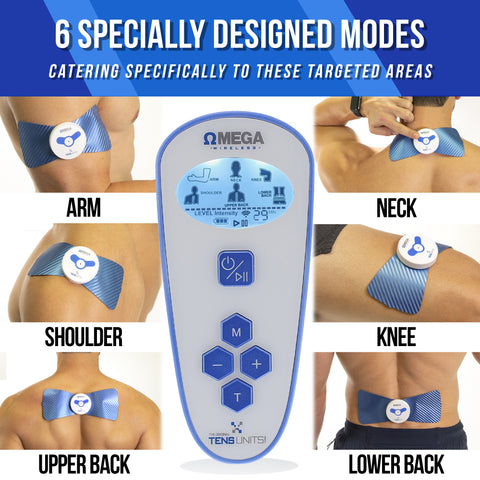 6 close up images of a man with the wireless pain therapy massage unit on different parts of the body