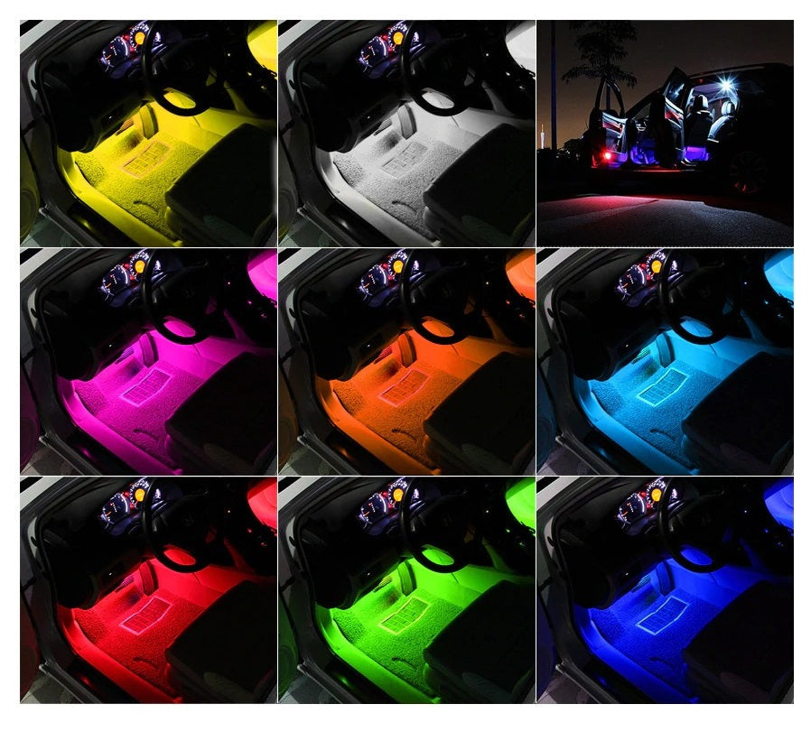 The Car Interior LED Lights are a set of four strips of LED lights that can be easily installed around your car