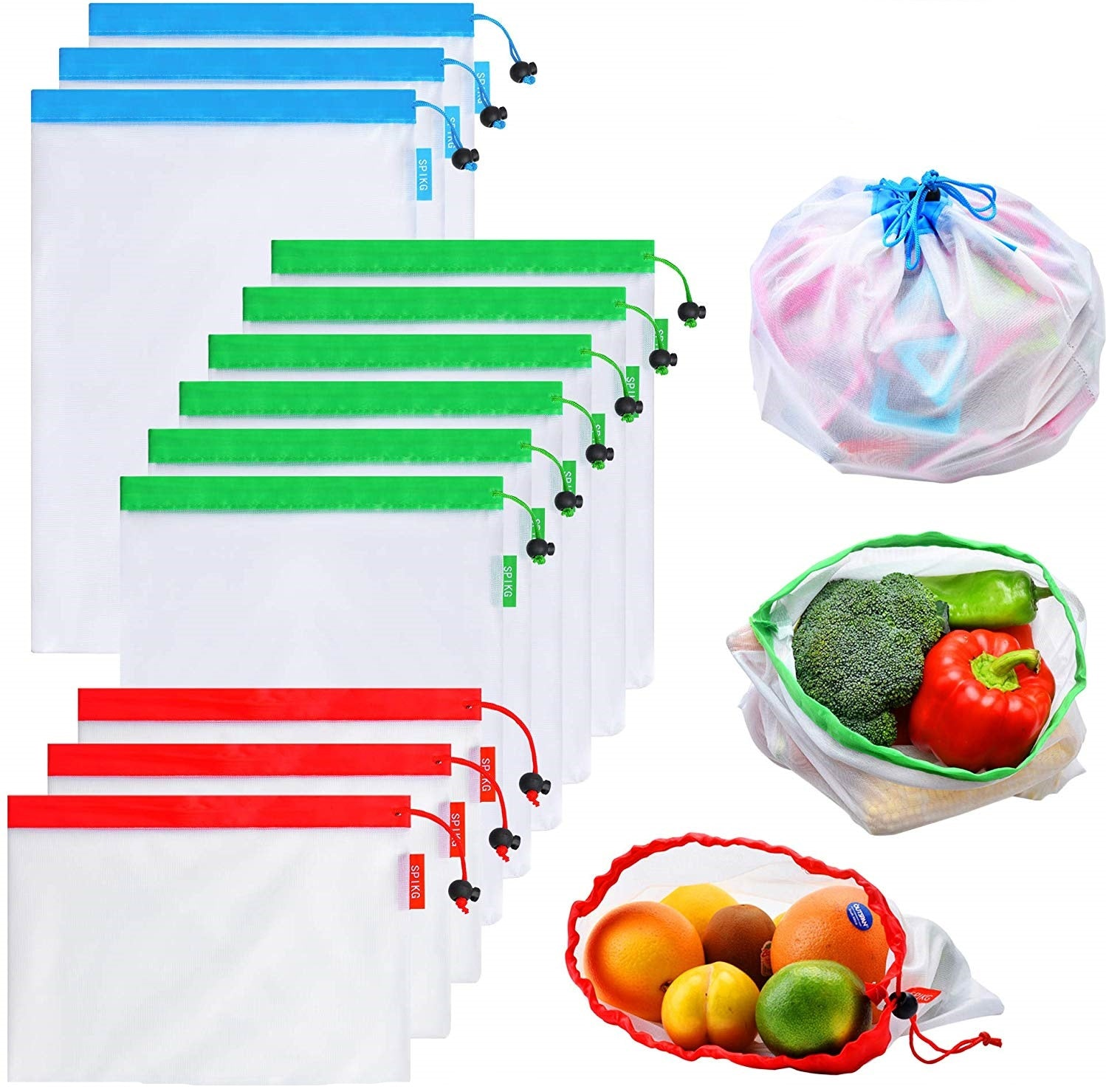 Reusable Produce Mesh Bags (12Pcs)