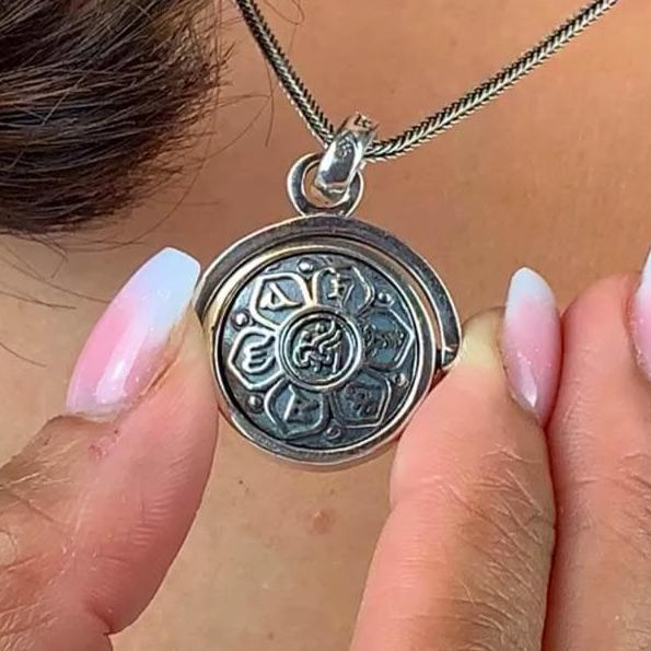 Spinning Sterling Silver Karma Necklace