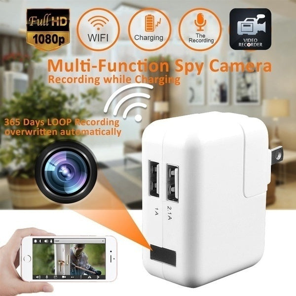 WiFi Full HD 1080P USB Wall Charger Mini Spy Motion Hidden Camera Power Adapter