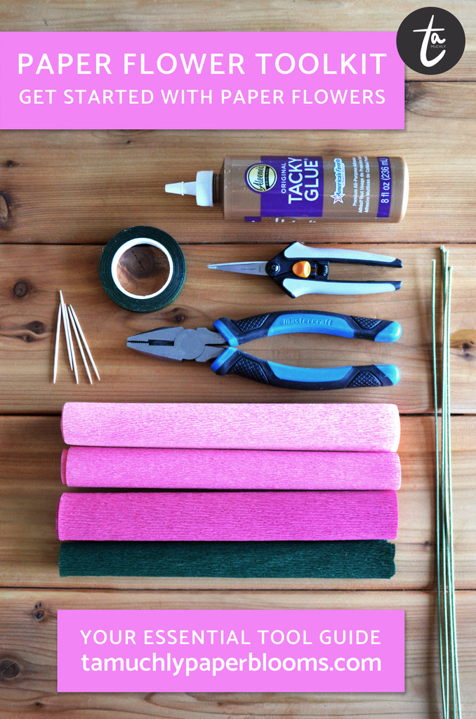 Crepe paper flower making tools | diy paper flower tutorials