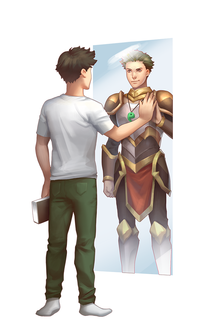 Picture a man facing a mirror, seeing a hero within him