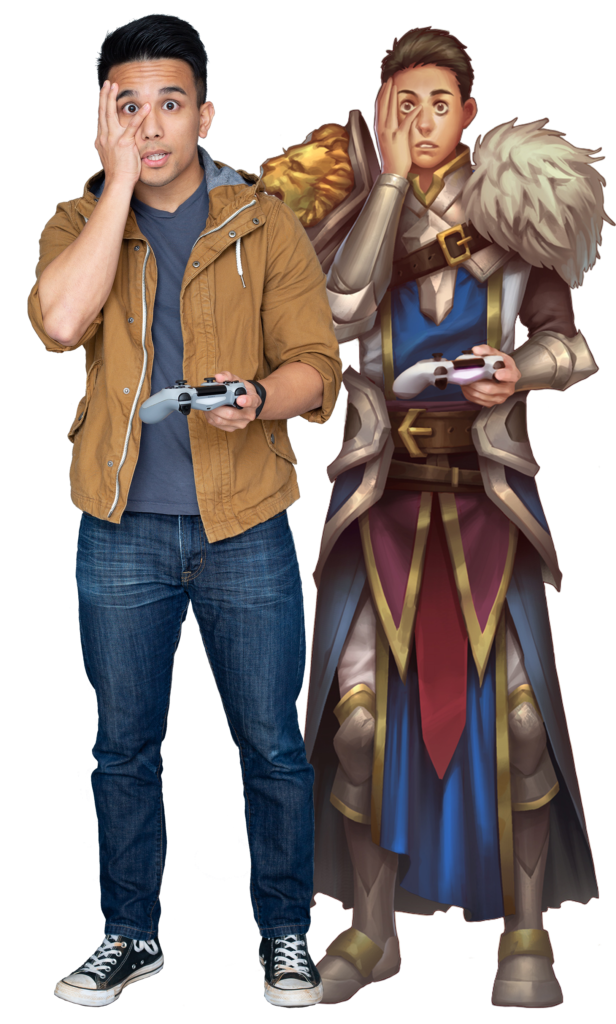 Raven (the founder of Life's an RPG) and his RPG version of himself next to him