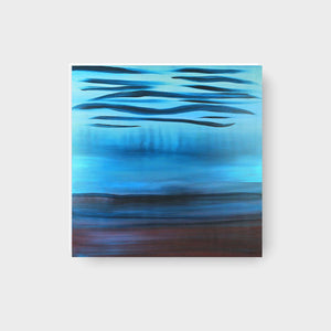 A Soft Day | Original Abstract Blue Landscape Painting by Orfhlaith Egan | Natural Light | A Soft Day