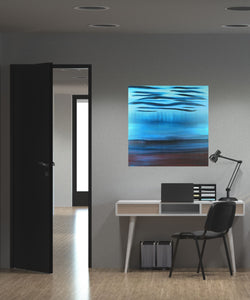 A Soft Day | Original Abstract Blue Landscape Painting by Orfhlaith Egan | Home Office Interior | A Soft Day
