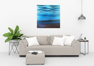 A Soft Day | Original Abstract Blue Landscape Painting by Orfhlaith Egan | Home Living Room Interior | A Soft Day