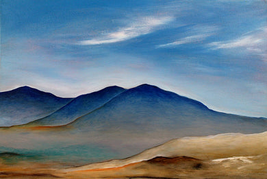 Blue Hills Original Acrylic Landscape Painting by Orfhlaith Egan | A Soft Day