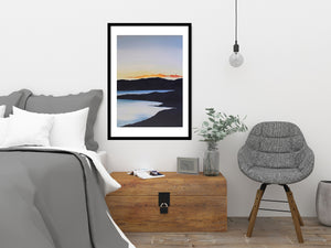 Sunset on the Lake | Art Print Poster in Bedroom by Orfhlaith Egan | A Soft Day