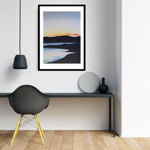 Sunset on the Lake | Art Print Poster in Foyer by Orfhlaith Egan | A Soft Day