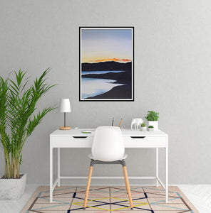 Sunset on the Lake | Art Print Poster in Home Office by Orfhlaith Egan | A Soft Day