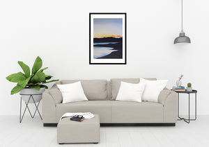 Sunset on the Lake | Art Print Poster in Living Room by Orfhlaith Egan | A Soft Day